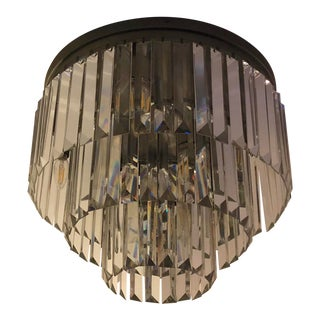 Restoration Hardware 1920s Odeon Clear Glass Fringe 3-Tier Flush Mount Chandelier For Sale