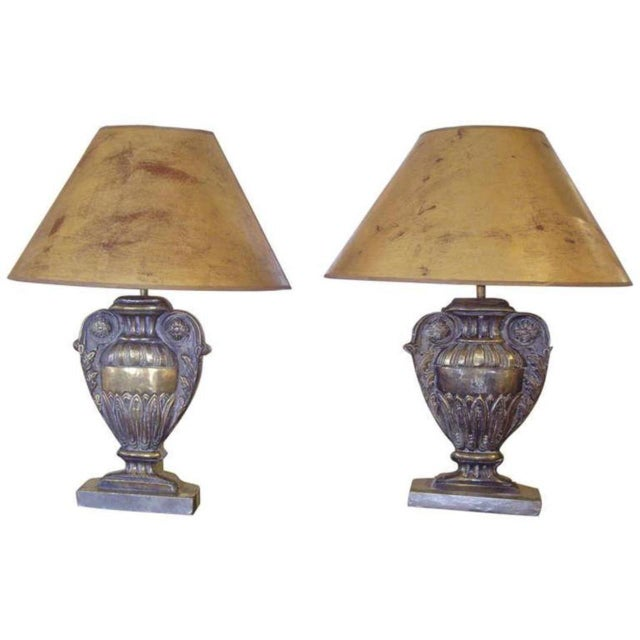 Brass 19th C. Repousse' Brass Urn Lamps - a Pair For Sale - Image 8 of 8