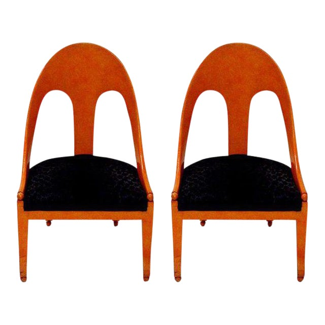Michael Taylor for Baker Neoclassic Spoonback Chairs - a Pair For Sale