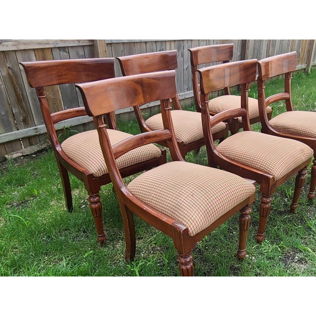 20th Century Reproduction Mahogany Empire Style Dining Room Chairs - Set of 6 For Sale - Image 4 of 13