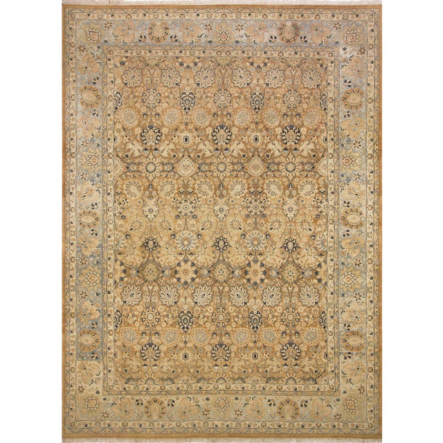 Pak Persian Ping Lt. Brown/Lt. Blue Hand-Knotted Rug -8'10 X 12'2 For Sale