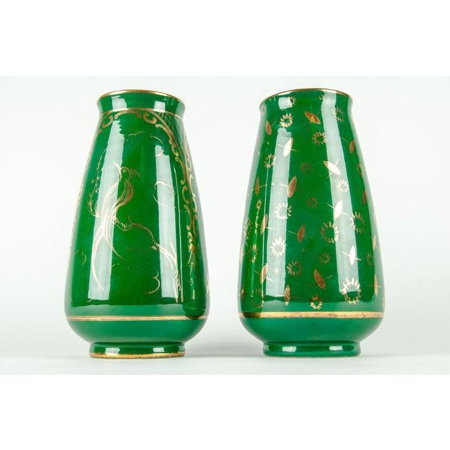 Ceramic Vintage Italian Green Porcelain Decorative Vases - a Pair For Sale - Image 7 of 11