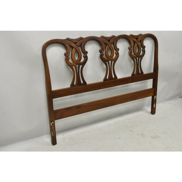 Vintage Blair House Chippendale Style Mahogany Full Size Bed Headboard For Sale - Image 9 of 10