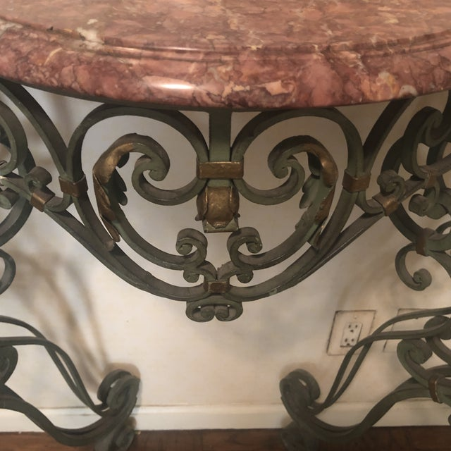 Traditional 1970s Traditional Marble and Iron Entry Foyer Table For Sale - Image 3 of 7