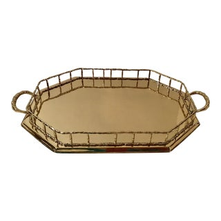 Polished Faux Bamboo Brass Tray For Sale
