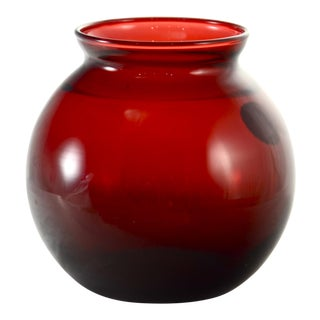 Royal Ruby Red Glass Ball Vase For Sale