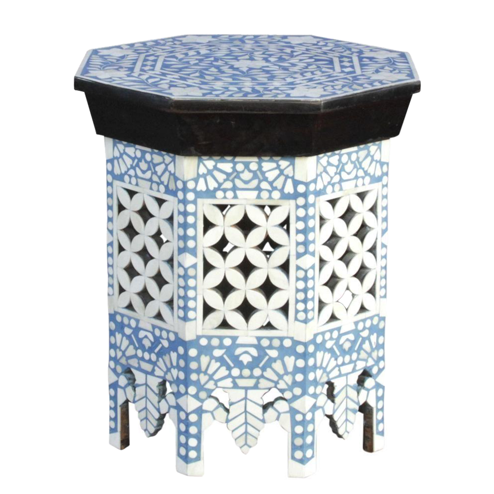 Moorish Sky Blue U0026 White Bone Inlay Table