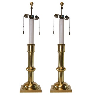 Pair of Classic Brass Stiffel Lamps For Sale