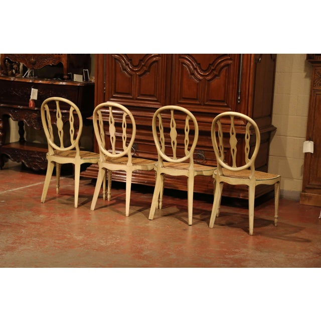 Mid-19th Century Vintage Hepplewhite Style Painted Chairs- Set of 4 For Sale - Image 12 of 13