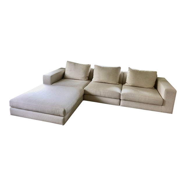 Off White Linen Sectional Sofa With Ottoman For Sale