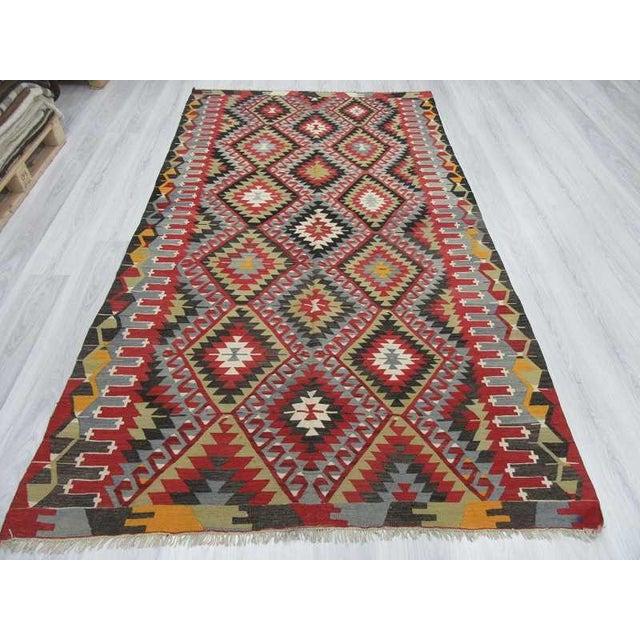 Islamic Vintage Turkish Kilim Hand Woven Rug - 5′2″ × 9′3″ For Sale - Image 3 of 6