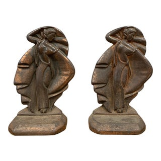 1930s Iron Art Deco Bookends - a Pair For Sale