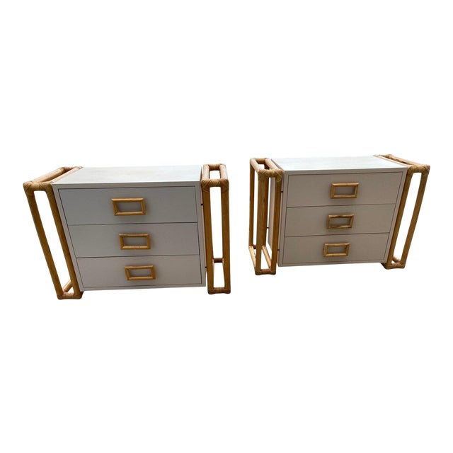 1970s Mid-Century Modern Rattan and Laminate Chests - a Pair For Sale