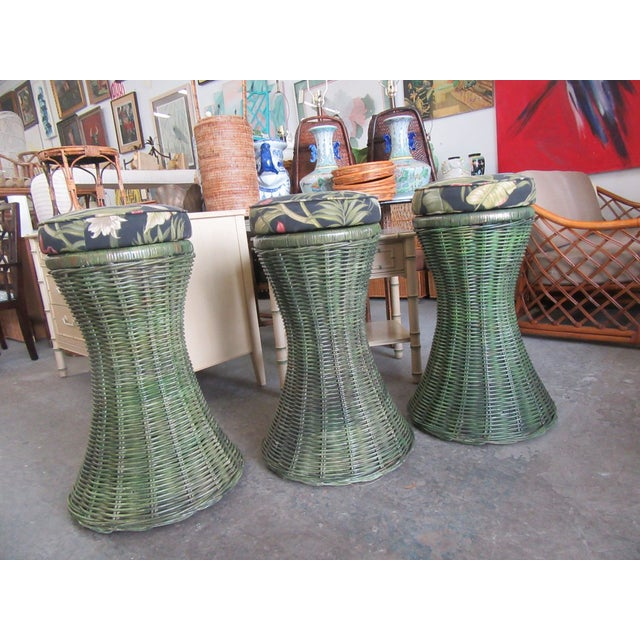 Tropical Green Woven Swivel Bar Stools- 3 Pieces For Sale - Image 4 of 6