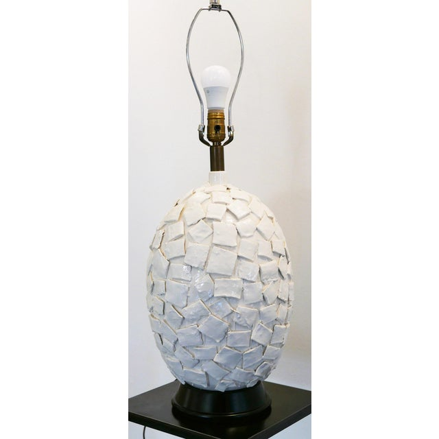 Ceramic Lamp With Applied Squares For Sale - Image 4 of 6