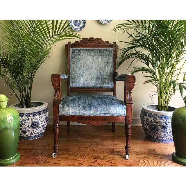 Blue Velvet Eastlake Chair For Sale - Image 9 of 9