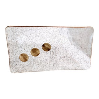 Vintage Lucite Acrylic Tray Gold Glitter Dots Resin Platter For Sale