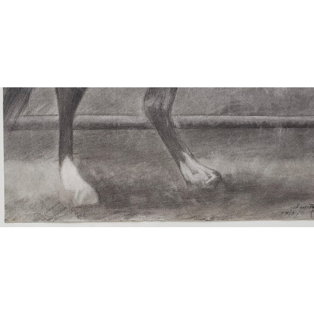 """""""The Challenger"""" Original Charcoal on Paper Mid 20th Century For Sale - Image 4 of 10"""
