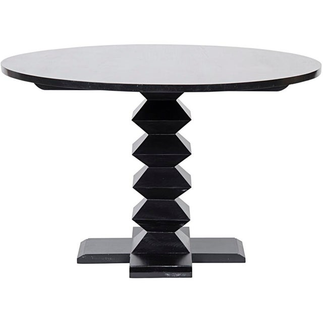 """Zig-Zag Base Dining Table, 48"""", Hand Rubbed Black, dining table, table, round, black, mahogany, wood"""