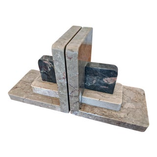 Art Deco Carved Marble Bookends, a Pair For Sale