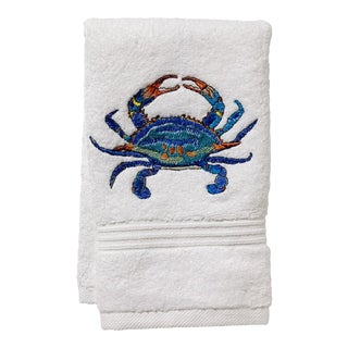 Blue Atlantic Crab Guest Towel White Terry, Embroidered For Sale
