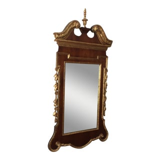 Georgian Mahogany Mirror With Parcel Gilt Details For Sale