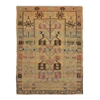 Antique Gordes Geometric Beige and Green Wool Rug- 2′6″ × 3′5″ For Sale