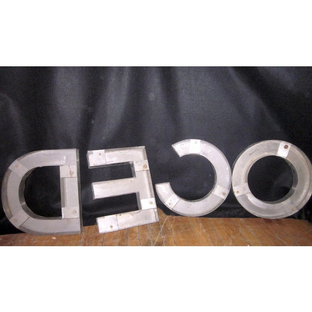 "Metal Vintage""Deco"" Stainless Steel Phrase Display Letters Advertising Signage For Sale - Image 7 of 9"
