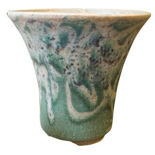 Handmade Green and White Glazed Ceramic Planter For Sale