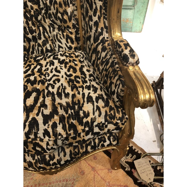 18th Century Antique French Louis XV Porter Child or Pet Chair With Leopard & Rivet Upholstery For Sale - Image 10 of 13