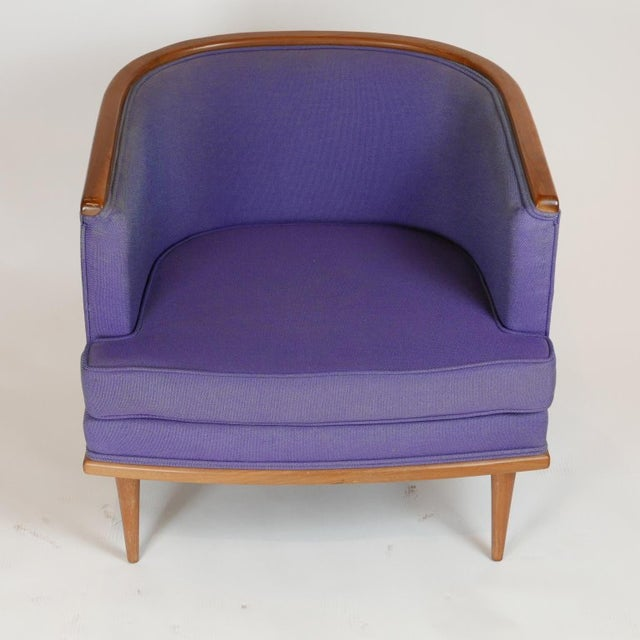 Blue Pair of Milo Baughman Barrel Back Lounge Chairs With Walnut Detail For Sale - Image 8 of 13