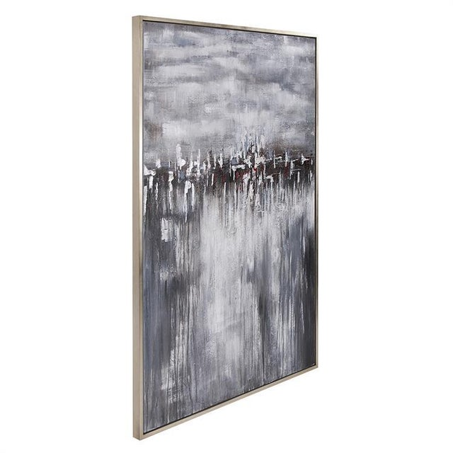 In the Moonlight Hand Painted Original Art Into the Moonlight depicts an abstract city scape reflecting off the nearby...