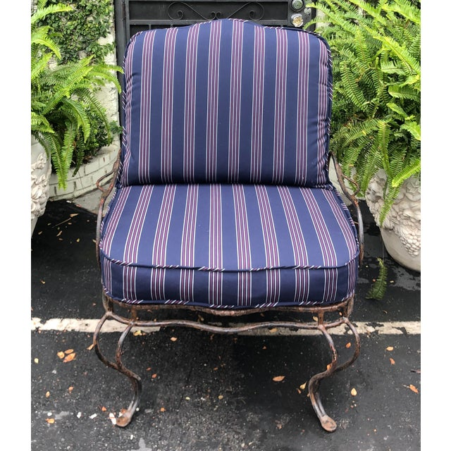 Metal Rose Tarlow Wrought Iron Outdoor Lounge Chairs - a Pair For Sale - Image 7 of 10