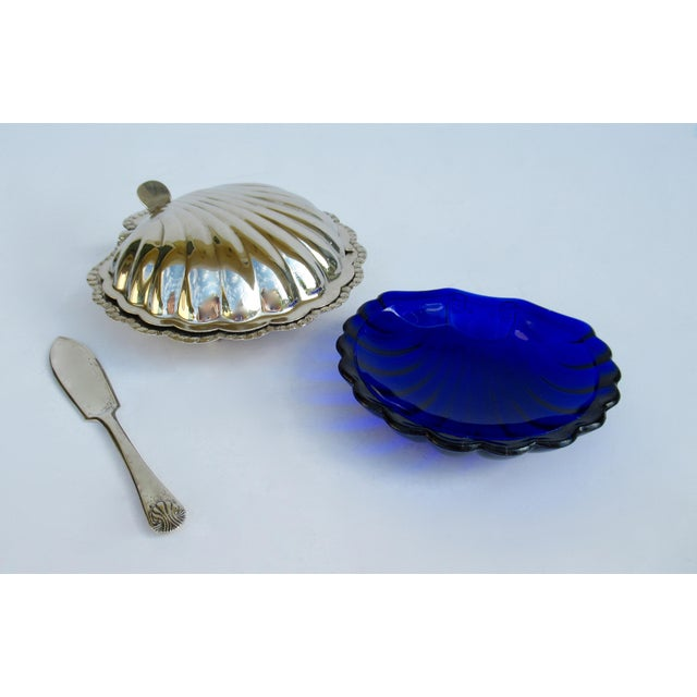 Blue Hollywood Regency English Silver Plate Caviar Serving Dish With Cobalt Blue Glass Liner - 3 Pieces For Sale - Image 8 of 13