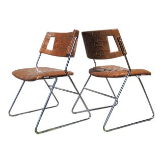1970s Mid-Century Modern Chromcraft Woven Leather Chairs - a Pair For Sale