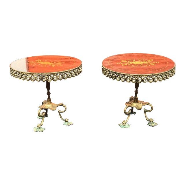 1940s Mid Century Modern Orange and Brass Side Tables - a Pair For Sale