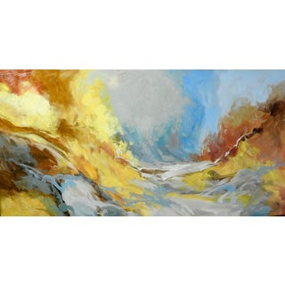 """Abstract Naturalism Oil Painting, """"Midsummer River"""" Stream Near Grassland For Sale"""