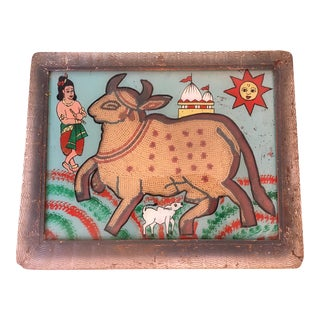 Indian Beaded Sacred Cow Eglomise Painting