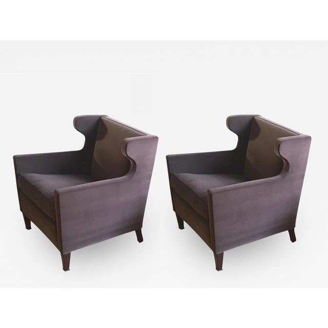 Gray Jacques Quinet Pair of Chic Wing Chairs For Sale - Image 8 of 8