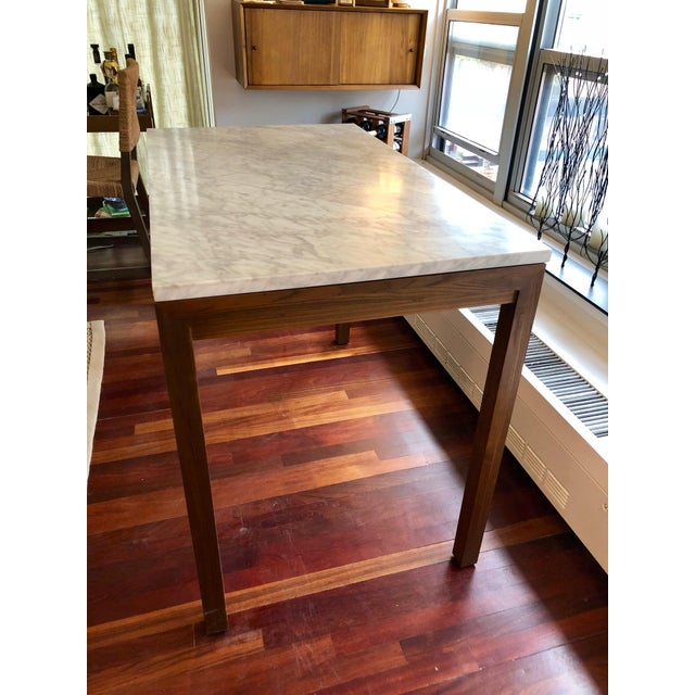 Contemporary Parsons White Marble Top/ Elm Base Dining Table For Sale - Image 3 of 8