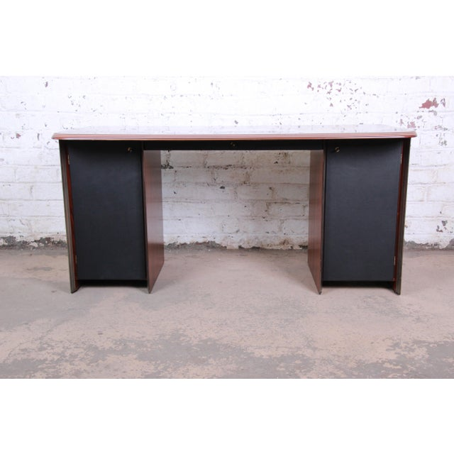 Black Afra and Tobia Scarpa for B&B Italia Rosewood, Burl and Leather Desk, 1970s For Sale - Image 8 of 13