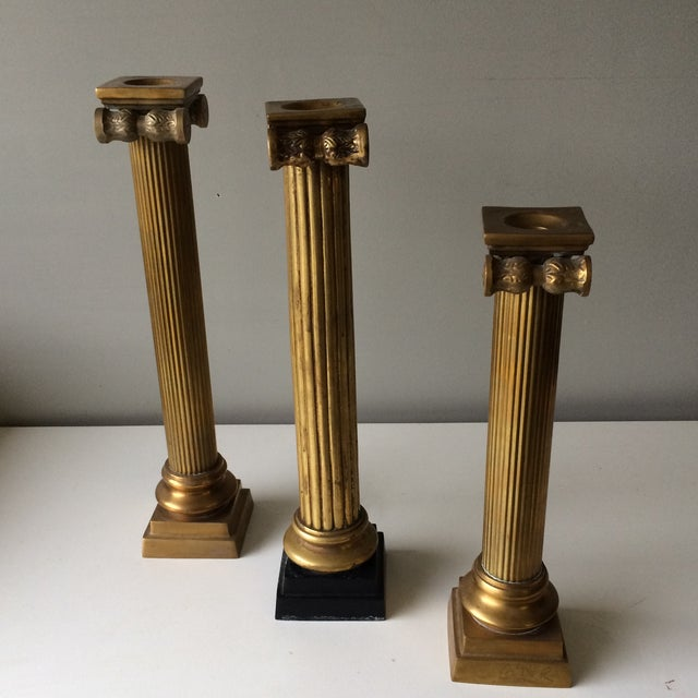 Brass Column Candleholders - Set of 3 For Sale - Image 7 of 7