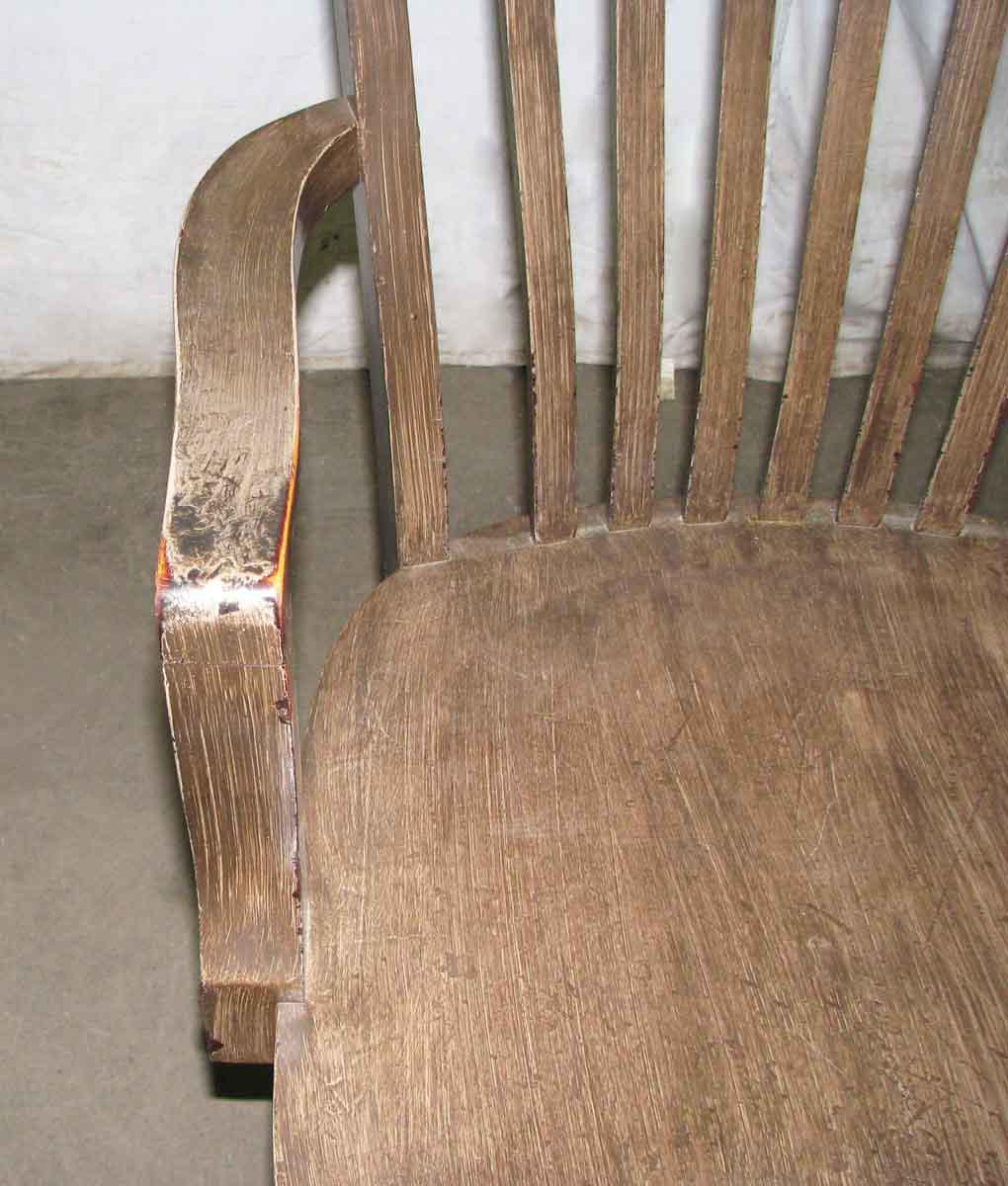 1920s 1920s Wooden Bankers Chair With Arms For Sale   Image 5 Of 10