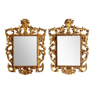 Pair of Rococo Style Frame Wall or Console Mirrors, Carved Gilded Wood Surrounds For Sale