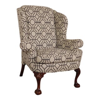 Early 21st Century Kindel Winterthur Mahogany Geometric Upholstered Wingback Chair For Sale