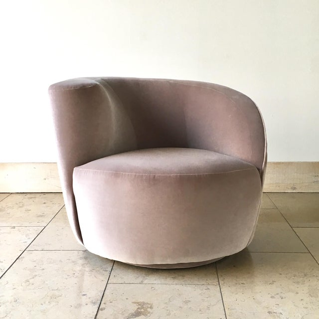 Single Vladimir Kagan designed Nautilus Swivel Chair Late 1980s Fully rebuilt and reupholstered in a Dusty Pink Velvet by...