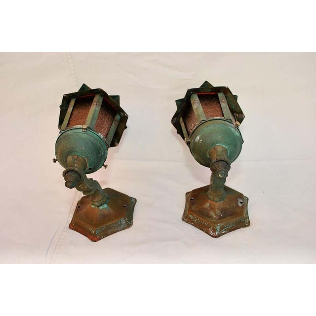 Spanish 1920s Copper Outdoor Sconces - a Pair For Sale - Image 3 of 5