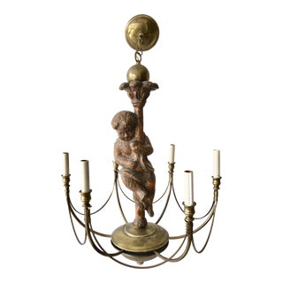 Maitland-Smith Brass & Wood Chandelier For Sale