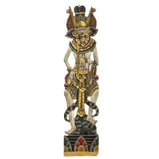 Balinese Hand-Carved Oversized Decorative Teak Wall Art Panel For Sale