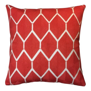 Modern Global Wool Embroidered Coral/Orange Lattice Pillow For Sale